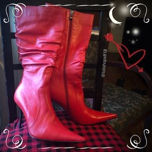 N.Y.L.A Pointed Toe Ruched Leather Stiletto Boots